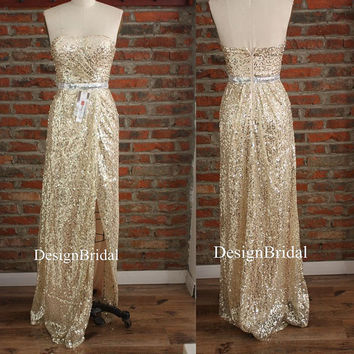 Sexy Gold Sequin Long Dress,Maid of Honor Dress,Strapless Cocktail Dresses,Pinup Party Dresses with High Side Slits,Bachelorette Party Dress