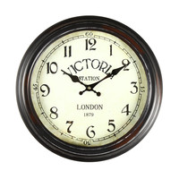 "Adeco Antique-Look Brown, Round Wall Hanging Clock ""Victoria Station"" Home Decor"