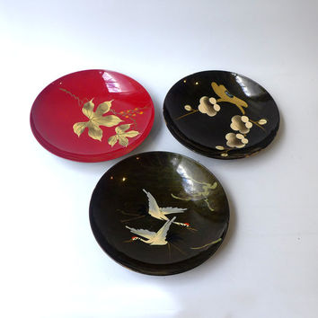 Vintage collection of 1960s Japanese lacquer and plastic serving bowls