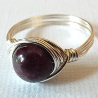 Tourmaline Ring, Wire Wrapped Ring, Purple Stone Ring, Silver Wire Ring, Homemade Jewelry, Unique Ring, Dark Purple Ring, Gothic Ring