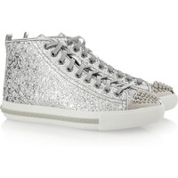 Miu Miu | Glitter-finished high-top sneakers | NET-A-PORTER.COM