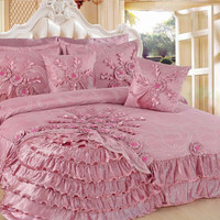 DaDa Bedding Fancy Royal Victorian Ruffles Cherry Blossom Pink Blooming Comforter Bed Set -  King - 5-Pieces (BM1227)
