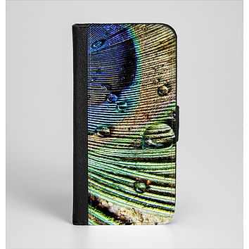 The Watered Peacock Detail Ink-Fuzed Leather Folding Wallet Case for the iPhone 6/6s, 6/6s Plus, 5/5s and 5c