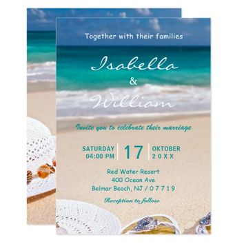 Turquoise Ocean Beach Wedding Invitation