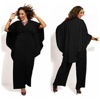 Plus Size Jumpsuits And Rompers For Women Hot Sale 2017 Plus Size Of Tall Waist Fashion Sexy Deep V Net Color Shawl Jumpsuits