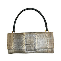 Vintage Authentic Gucci  Bamboo Handle Python Snake Skin Leather Envelope Style Flap closure Clutch Handbag