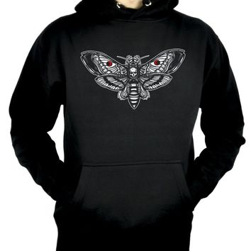 Moth with Death Skull Pullover Hoodie Sweatshirt Dark Alternative Clothing