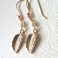 Rose Gold Leaf and Pearl Dangle Earrings-Rose Gold Jewelry