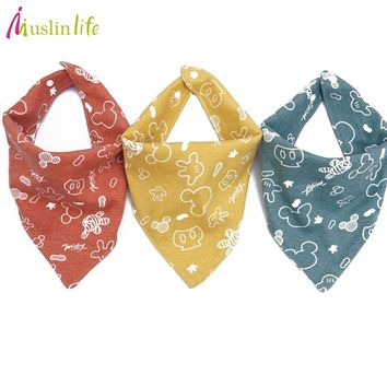 Muslinlife High quality new cotton baby bibs Burp Cloths Fashion Animal Print baby bandana bibs dribble bibs