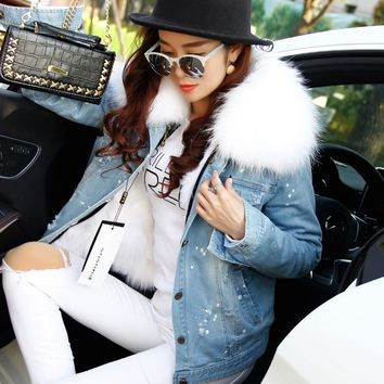 Trendy Ladies Real Fur Parka Women  Denim Jacket Winter Natural fox fur Lining Parka Coat Real Raccoon Fur Collar Jacket Women AT_94_13