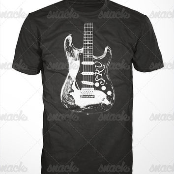 Stevie Ray Vaughan Guitar T-Shirt - srv tshirt, blues music tee shirt, vintage, mens gift, bb king, jimi hendrix, texas, history icon, 80s