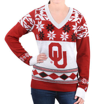 """Oklahoma Sooners Women's Official NCAA """"Big Logo"""" V-Neck Sweater by Klew"""