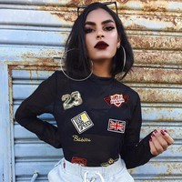 Sexy perspective gauze personalized embroidered chapter slim long sleeve T-shirt bottoming