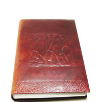 Vintage Leather Blank Journal |  Tooled Mahogany Dyed Leather Diary |  Sketch or Notebook Book | Made in Italy