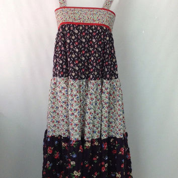 70s Dress Floral Sun Dress Strappy Summer Dress Calico Ditsy Tiny Floral Mixed Print Tent Dress  1970s Dress Country Prairie Print XS XXS