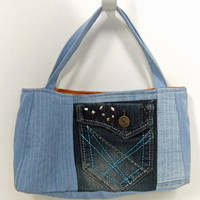 Quilted Purse made with Recycled Denim - jeans - pocket