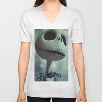 Jack Skellington (Nightmare Before Christmas) Unisex V-Neck by LT-Arts