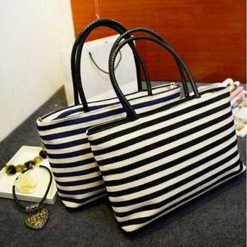 Blue or Black Striped Large Zippered Tote Bag Purse