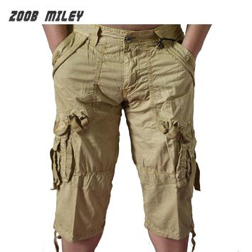 Summer Mens Military Baggy Cargo Shorts Large Size Loose Fit Casual Short Pants Cotton Calf Length Fashion Beach Board Trousers