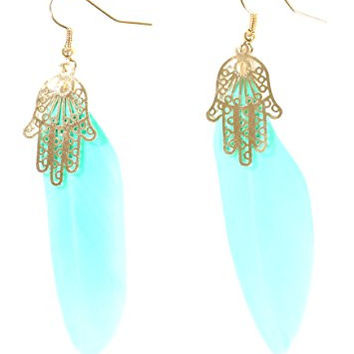 Hamsa Feather Earrings Neon Blue Plume Gold Tone Hand EG50 Fashion Jewelry