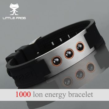 LITTLE FROG Power Energy Hologram Bracelets Wristbands Balance 1000 Ions Magnetic Therapy Fashion Silicone Bracelets 20010