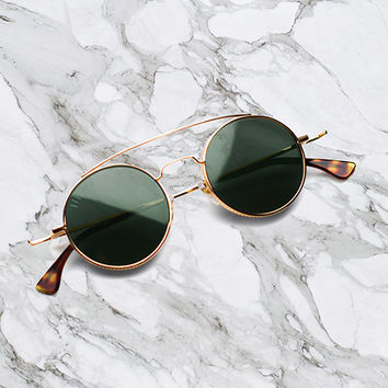 9FIVE 50-50 24K Gold & Tortoise Round Sunglasses