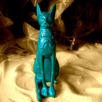 Bastet Solid Malachite Hand Carved Museum Replica Egyptian Theme Statue
