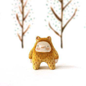 Woodland bear boy miniature  - Paper clay figurine - Woodland art toy - made to order