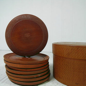 Vintage Carved Wood Round Coasters Set of 8 in Matching Box with Lid - Made in Japan Hand Carved Asian Inspired Art Small Wooden Plates Set