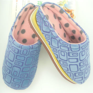 Home Winter Cotton Stylish Soft Blue Slippers [8102202433]