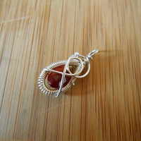 Red Mexican Fire Opal Faceted Drop Bead Sterling Silver Wire Wrapped Charm Wire Wrapped Pendant Wire Wrapped Jewelry Handmade