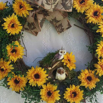 Owl Wreath, Owl Wall Decor, Owls Sunflower and Boxwood Wreath, Autumn Decor Owl, Autumn Harvest Wreath, Boxwood ready to ship wreath