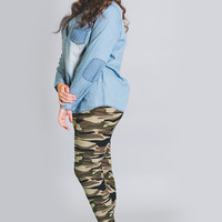 I Love Camo High Waisted Leggings-Plus Size