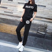 Gucci Women Casual Fashion Beading Letter Short Sleeve Sweater Trousers Set Two-Piece Sportswear