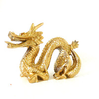 asian dragon figurine, dragons, asian art, sculpture, metallic gold decor, chinese new year