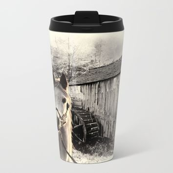 Horse At The Old Mill Metal Travel Mug by Theresa Campbell D'August Art