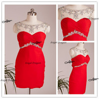 Red party dresses,beading party dress,cocktail party dress,party evening cocktail gown,short party dress,party dress,bridesmaid dress