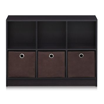 Basic 3x2 Bookcase Storage w/Bins, Dark Walnut