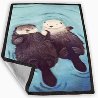 Otters Holding Hands Blanket for Kids Blanket, Fleece Blanket Cute and Awesome Blanket for your bedding, Blanket fleece *