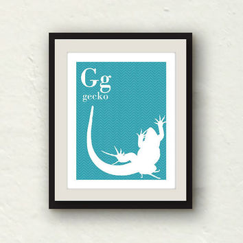 Alphabet Art - Gecko Wall Art - Baby Nursery Print - G for Gecko - 8x10 Chevron print