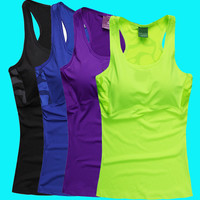 New Women Sports Vest Famous Brand Tank Tops Shockproof Breathable Gym Running Tennis Sports Wear With Pad