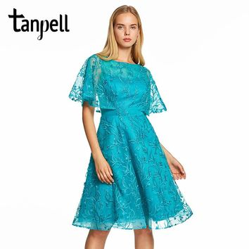 Tanpell cap sleeves a line prom dresses blue lace embroidery knee length gown women cocktail party homecoming formal prom dress