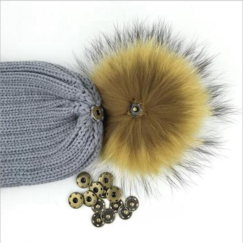 NGSG 2017 Winter Hat 12cm 100% Real Raccoon Pompom Luxury Balls Genuine Pom For Bag Hats Cap Scarf Gloves Attached Accessoreis