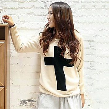 Women's Black Beige Casual Pullover
