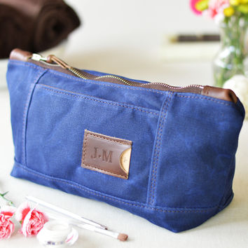 NO. 317 Personalized Toiletry Bag, Navy Blue Waxed Canvas