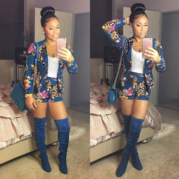 Fashion Women Floral Printed Blazer Set Long Sleeve Two Piece Track Suits Tops + Short Pants Blue