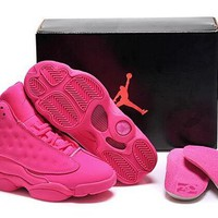 Hot Air Jordans 13 Women Shoes Suede Pink White
