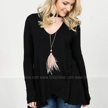 Asymmetrical Onyx Wrap Top