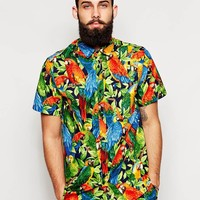Reclaimed Vintage Short Sleeve Shirt in Parrot Print