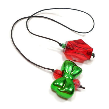 Beaded Bookmark Green Bow Red Book Book Thong Cord String Bookmark Christmas Gift under 5 Book Club Teacher Gift
